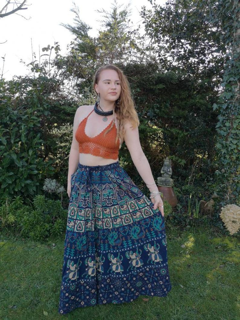 Indian Maxi Skirt Blue