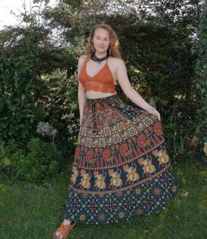 Indian Maxi Skirt Green
