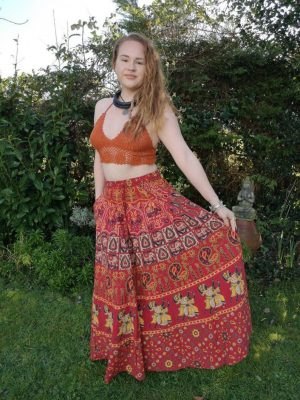 Indian Maxi Skirt Red