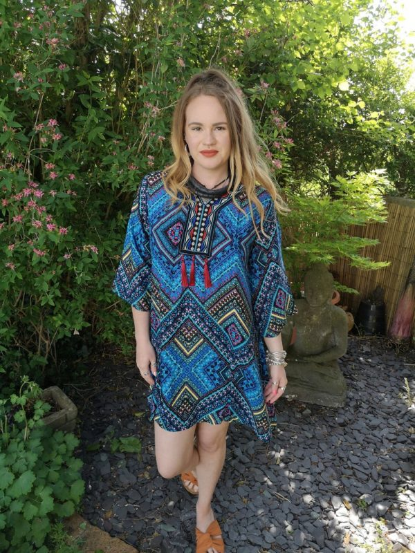 Aztec Kaftan Top Blue
