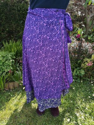 Reversible Sari Skirt Purple
