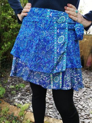 Reversible Mini Sari Skirt Blue