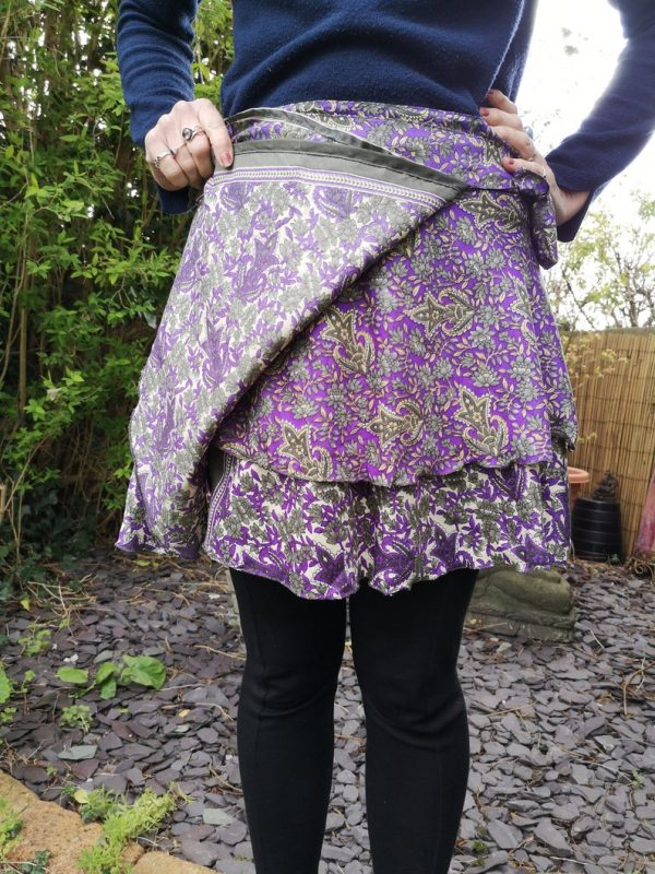 Reversible Mini Sari Skirt Purple