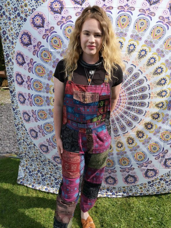 Patchwork Heavy Cotton Om Dungarees