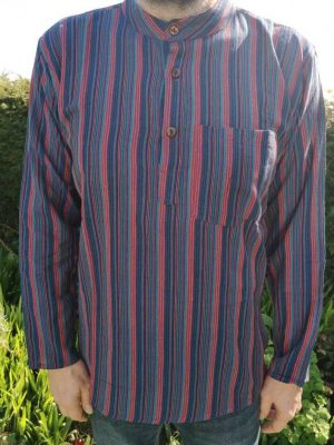 Striped Grandad Shirt Multi