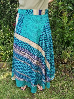 Reversible Sari Skirt Blue