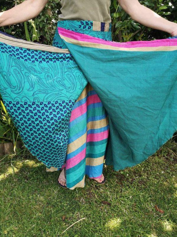 Reversible Sari Skirt Blue
