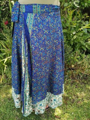 Reversible Sari Skirt Dark Blue