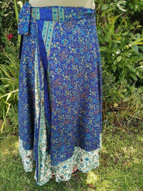 Reversible Sari Skirt Dark Blue