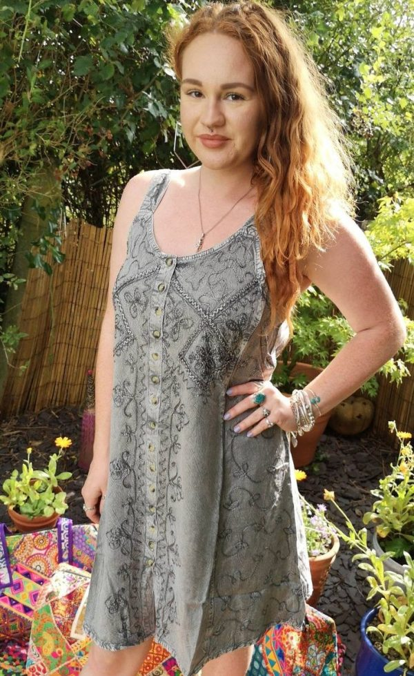 Embroidery Short Dress Silver