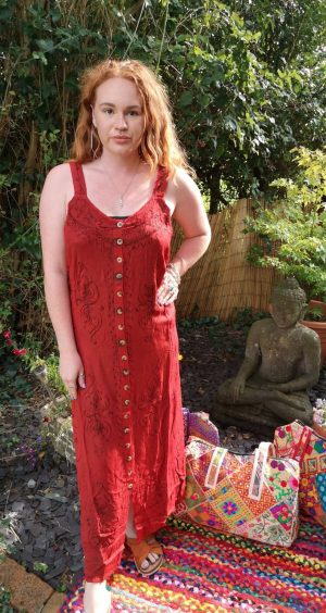 Button - Up Maxi Dress Red