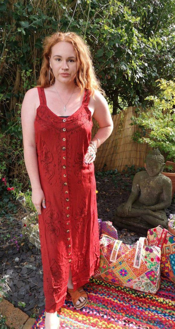 Button - Up Maxi Dress Red