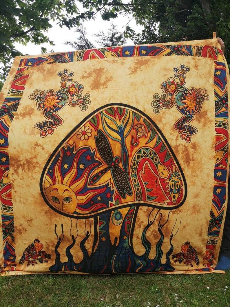 Mushroom Orange Tapestry