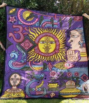 Sun + Om Purple Throw