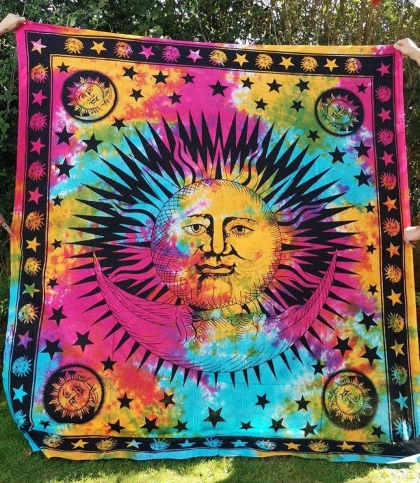 Sun + Moon Tie Dye Throw