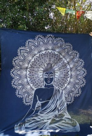 Buddha Blue + Silver Throw