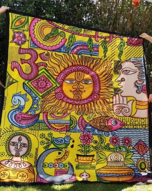 Sun + Om Yellow Throw
