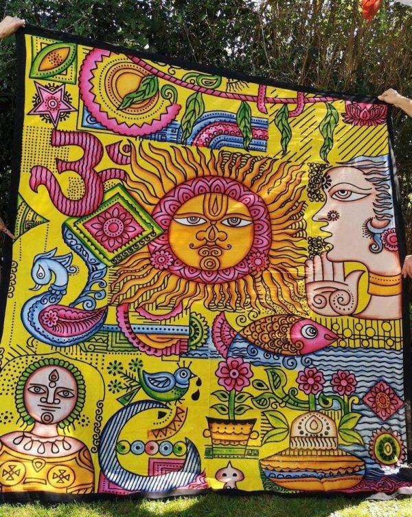 Sun + Om Yellow Throw