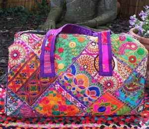 Embroidery Large Bag Purple