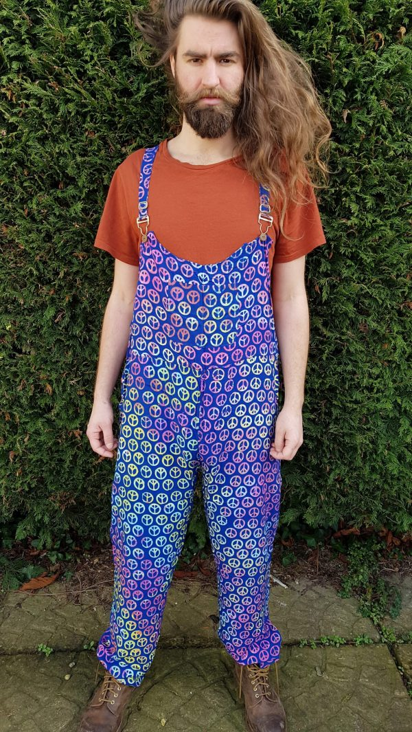 Tie Dye Peace Dungarees Blue