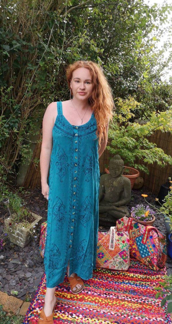 Button - Up Maxi Dress Blue