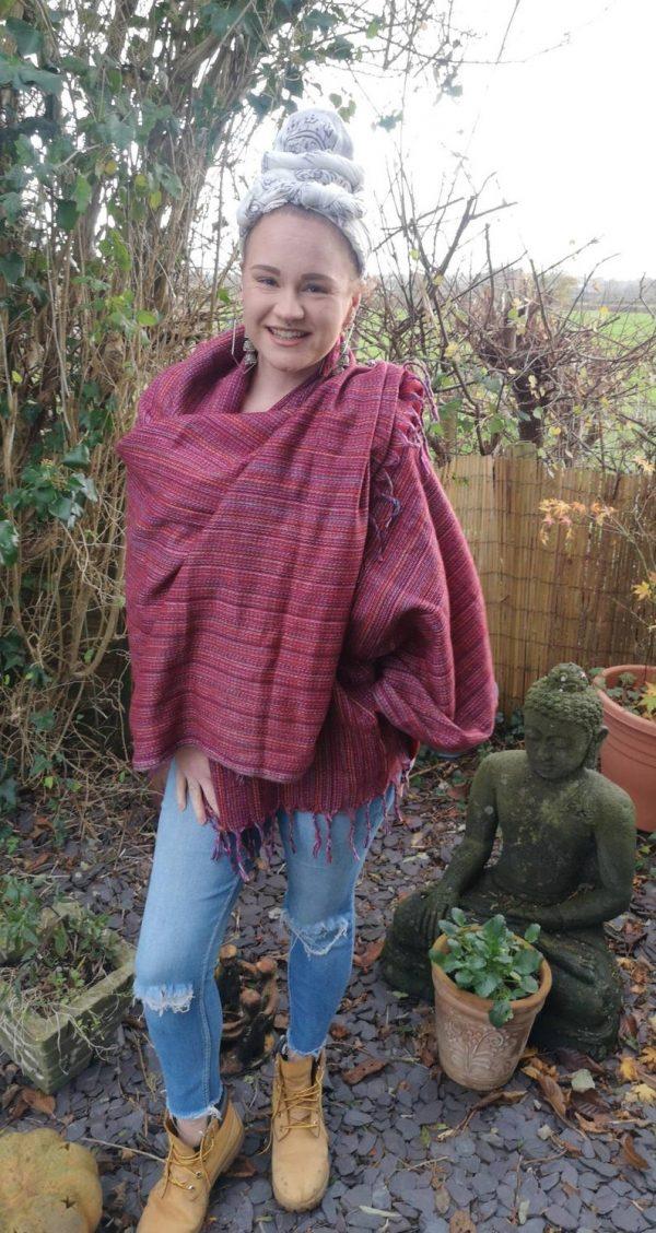 Beautiful stripe scarf - Burgundy